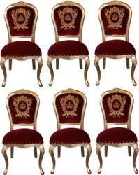 Pompöös by Casa Padrino Luxus Barock Esszimmerstühle mit Krone Bordeauxrot / Gold - Pompööse Barock Stühle designed by Harald Glööckler - 6 Esszimmerstühle