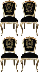 Pompöös by Casa Padrino Luxury Baroque Dining Chairs with Crown Black / Gold - Pompöös Baroque Chairs designed by Harald Glööckler - 4 Dining Chairs