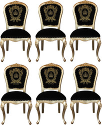 Pompöös by Casa Padrino Luxury Baroque Dining Chairs with Crown Black / Gold - Pompöös Baroque Chairs designed by Harald Glööckler - 6 Dining Chairs