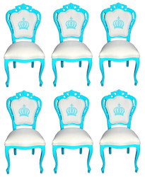 Pompöös by Casa Padrino Luxury Baroque Dining Chairs White / Turquoise - Pompöös Baroque Chairs designed by Harald Glööckler - 6 Dining Chairs - Baroque Dining Room Furniture