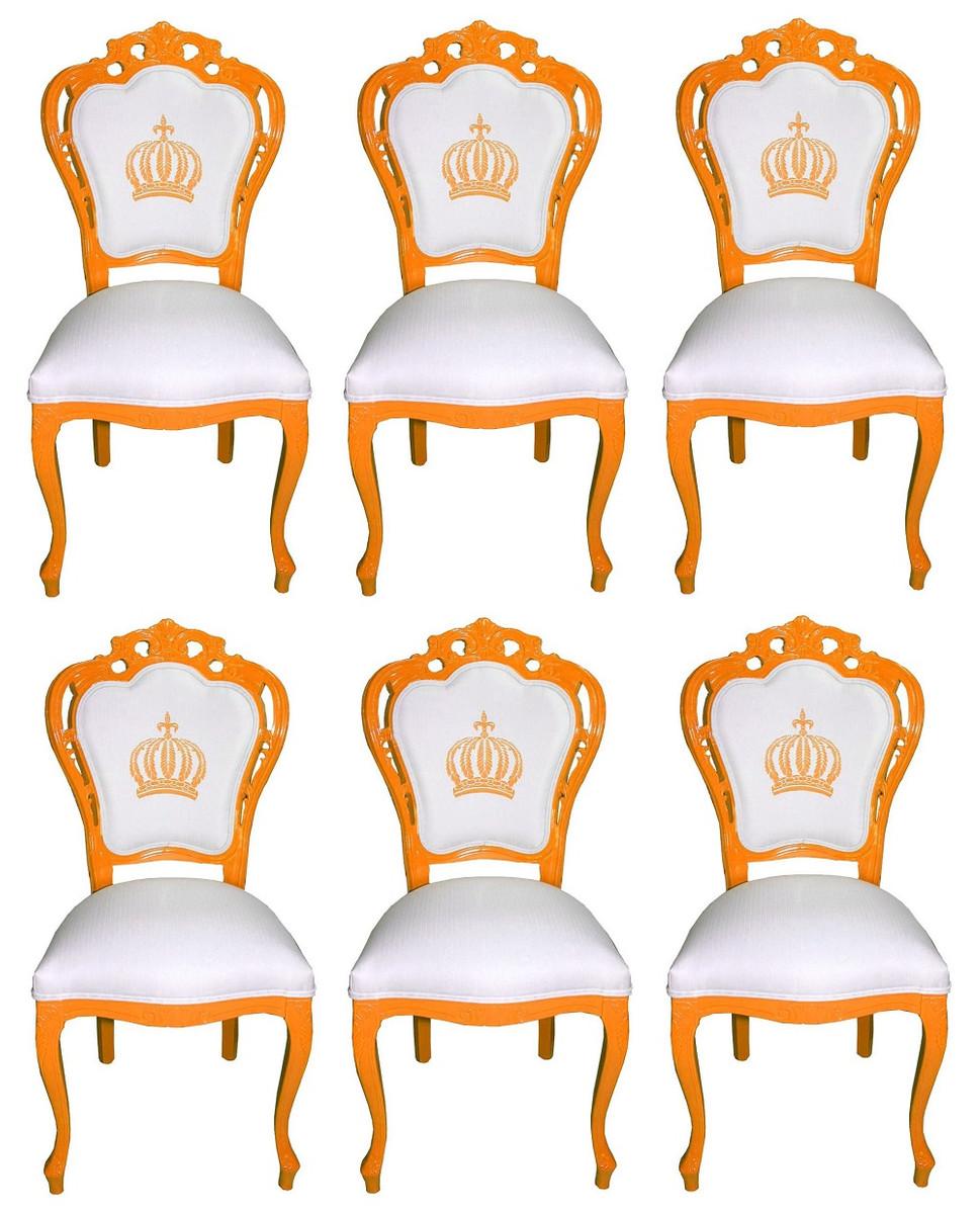 Pompöös By Casa Padrino Luxus Barock Esszimmerstühle Weiß Orange