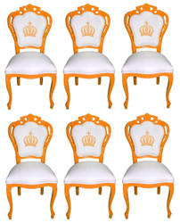 Pompöös by Casa Padrino Luxury Baroque Dining Chairs White / Orange - Pompöös Baroque Chairs designed by Harald Glööckler - 6 Dining Chairs - Baroque Dining Room Furniture
