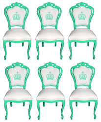 Pompöös by Casa Padrino Luxury Baroque Dining Chairs White / Green - Pompöös Baroque Chairs designed by Harald Glööckler - 6 Dining Chairs - Baroque Furniture