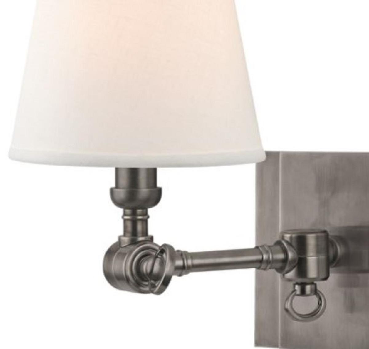 Lampade Da Parete Con Braccio casa padrino lampada da parete di lusso argento antico / bianco 15,2 x 24,1  x h. 25,4 cm - lampada da parete con braccio girevole