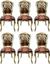 Pompöös by Casa Padrino Luxury Baroque Dining Chairs Crown Black / White / Red / Gold - Pompöös Baroque Chairs designed by Harald Glööckler - 6 Dining Chairs