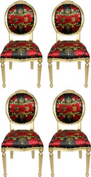 Pompöös by Casa Padrino Luxury Baroque Dining Chairs Roses Black / Red / Gold - Pompöös Baroque Chairs designed by Harald Glööckler - 4 Dining Chairs