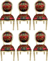 Pompöös by Casa Padrino Luxury Baroque Dining Chairs Roses Black / Red / Gold - Pompöös Baroque Chairs designed by Harald Glööckler - 6 Dining Chairs