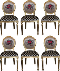 Pompöös by Casa Padrino Luxury Baroque Dining Chairs Red Lips Cream / Plaid / Gold - Pompöös Baroque Chairs designed by Harald Glööckler - 6 Dining Chairs