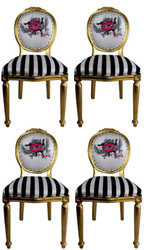Pompöös by Casa Padrino Luxury Baroque Dining Chairs Pink Lips Black / White Stripes / Gold - Pompöös Baroque Chairs designed by Harald Glööckler - 4 Dining Chairs