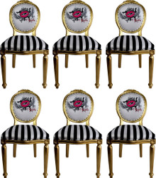 Pompöös by Casa Padrino Luxury Baroque Dining Chairs Pink Lips Black / White Stripes / Gold - Pompöös Baroque Chairs designed by Harald Glööckler - 6 Dining Chairs