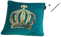 Harald Glööckler designer throw pillow 50 x 50 cm crown with sequins turquoise / gold + Casa Padrino luxury baroque pencil with crown design