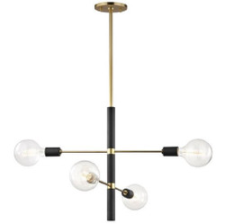 Casa Padrino chandelier antique brass / black Ø 61 x H. 50.8 cm - Luxury Chandelier