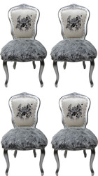 Pompöös by Casa Padrino Luxury Baroque Dining Chairs Crown White / Gray / Silver - Pompöös Baroque Chairs designed by Harald Glööckler - 4 Dining Chairs with Faux Fur