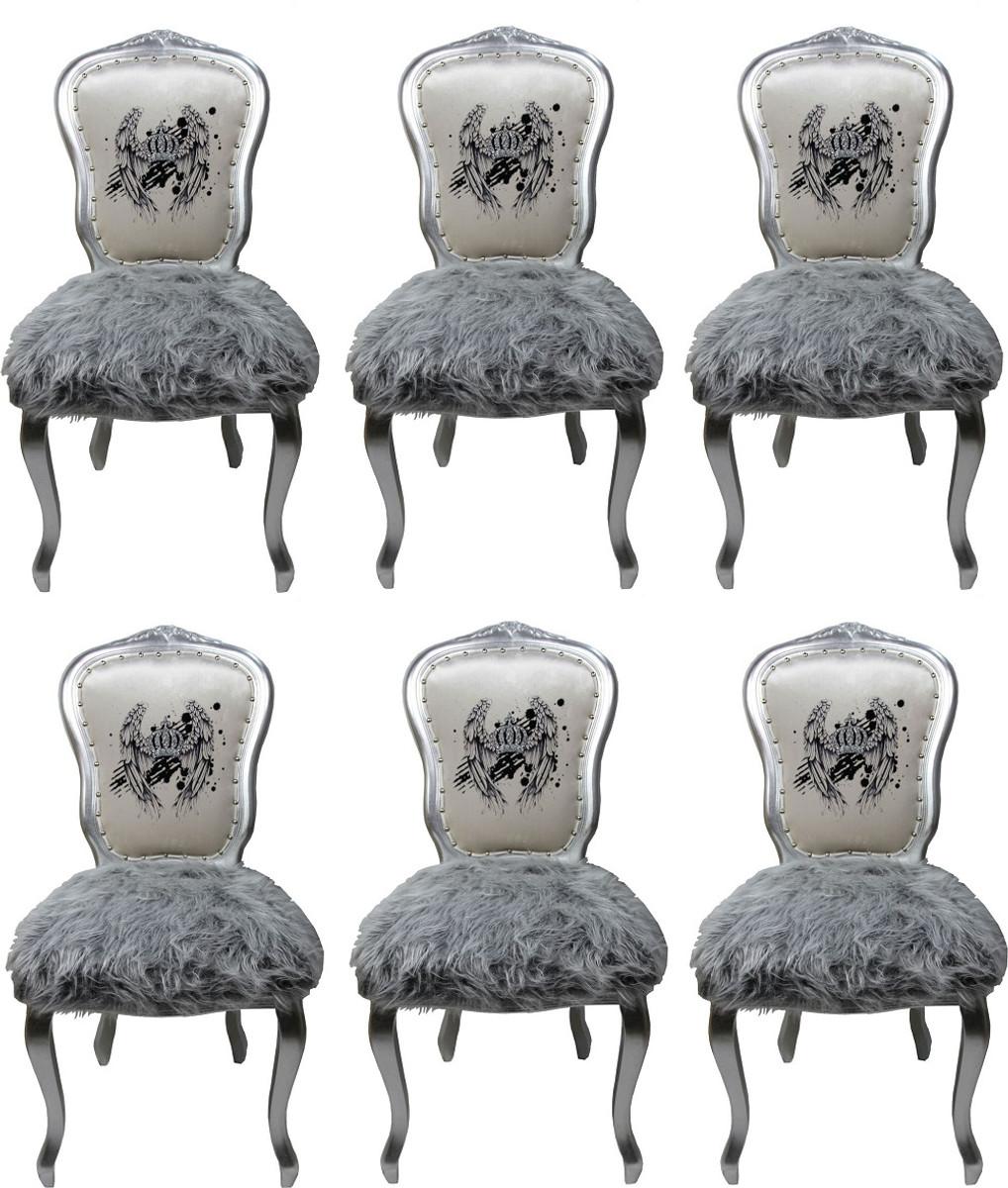 Pompöös By Casa Luxus Barock Weiß Esszimmerstühle Krone Padrino 80Nwnmv