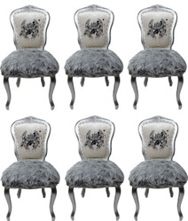 Pompöös by Casa Padrino Luxury Baroque Dining Chairs Crown White / Gray / Silver - Pompöös Baroque Chairs designed by Harald Glööckler - 6 Dining Chairs with Faux Fur