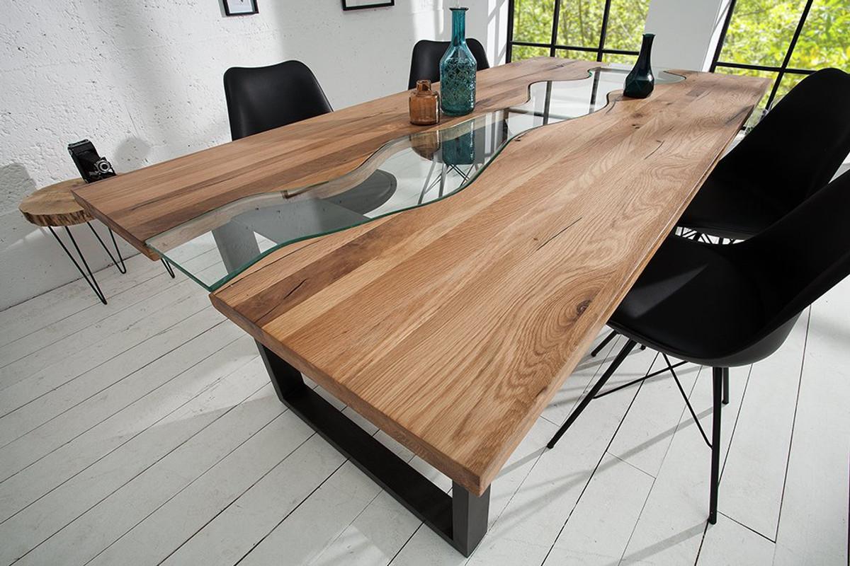 Mesa de comedor de madera maciza de diseño Casa Padrino natural ...