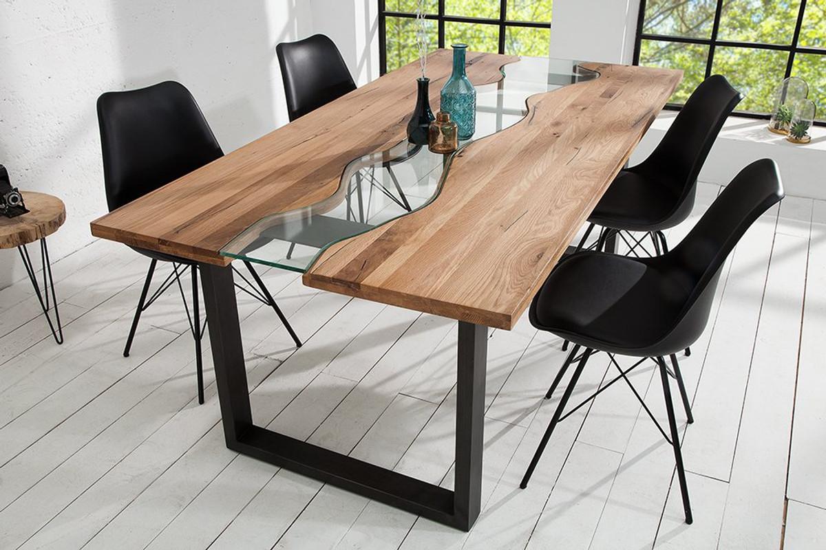 Mesa de comedor de madera maciza de diseño Casa Padrino natural - roble -  con inserto de vidrio mesa de comedor de 200 cm