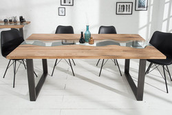 Casa Padrino designer solid wood dining table natural - oak - with glass insert 200 cm dining table