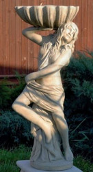 Casa Padrino Art Nouveau Garden Decoration Statue Girl with Flower Pot 46 x 32 x H. 116 cm - Decorative Garden Sculpture - Special!