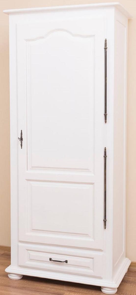 Casa Padrino Landhausstil Schlafzimmerschrank / Kleiderschrank mit Tür und  Schublade Weiß 79,5 x 54 x H. 186 cm - Schlafzimmermöbel