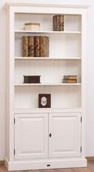 Casa Padrino Landhausstil Bücherschrank / Regalschrank Weiß 110 x 39 x H. 210 cm - Wohnzimmerschrank mit 2 Türen