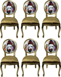 Pompöös by Casa Padrino Luxury Baroque Dining Chairs Gold / Multicolor 50 x 60 x H.104 cm - Pompöös Baroque Chairs designed by Harald Glööckler - 6 Dining Chairs