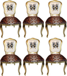 Pompöös by Casa Padrino Luxury Baroque Dining Chairs Glitter Crown & Angel Wing Leopard / White / Gold 50 x 60 x H.104 cm - Pompöös Baroque Chairs designed by Harald Glööckler - 6 Dining Chairs