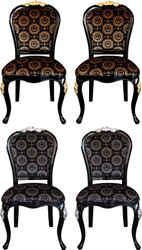Pompöös by Casa Padrino Luxury Baroque Dining Chairs with Crown Black / Gold & Black / Silver 54 x 53 x H. 108 cm - Pompöös Baroque Chairs designed by Harald Glööckler - 4 Dining Chairs - Baroque Dining Room Furniture