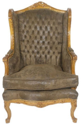 Casa Padrino Baroque Chesterfield Leather Ears Armchair Dark Brown / Brown 83 x 83 x H. 110 cm - Baroque Furniture