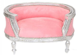 Casa Padrino Baroque Cats & Sofa Rose / Silver Dog Bed & Cat Bed