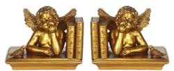Casa Padrino Barock Buchstützen Set Engel Gold 18 x 11 x H. 14 cm - Barock Deko Accessoires
