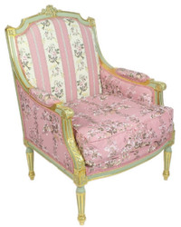 Casa Padrino Baroque Lounge Throne Armchair Empire Floral Pattern Pink / Multicolor / Gold 70 x 70 x H. 100 cm - Baroque Furniture