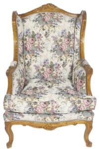 Casa Padrino Baroque Ears Armchair Multicolor / Brown 83 x 83 x H. 110 cm - Living Room Armchair with Floral Pattern