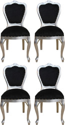 Casa Padrino Luxury Baroque Dining Set Black / Silver 45 x 46 x H. 99 cm - 4 Handmade Dining Chairs - Baroque Dining Room Furniture