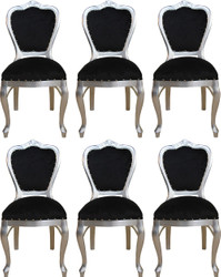 Casa Padrino Luxury Baroque Dining Set Black / Silver 45 x 46 x H. 99 cm - 6 Handmade Dining Chairs - Baroque Dining Room Furniture