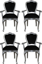 Casa Padrino Luxury Baroque Dining Set Black / Silver 60 x 47 x H. 99 cm - 4 Handmade Dining Chairs with Armrests - Baroque Dining Room Furniture