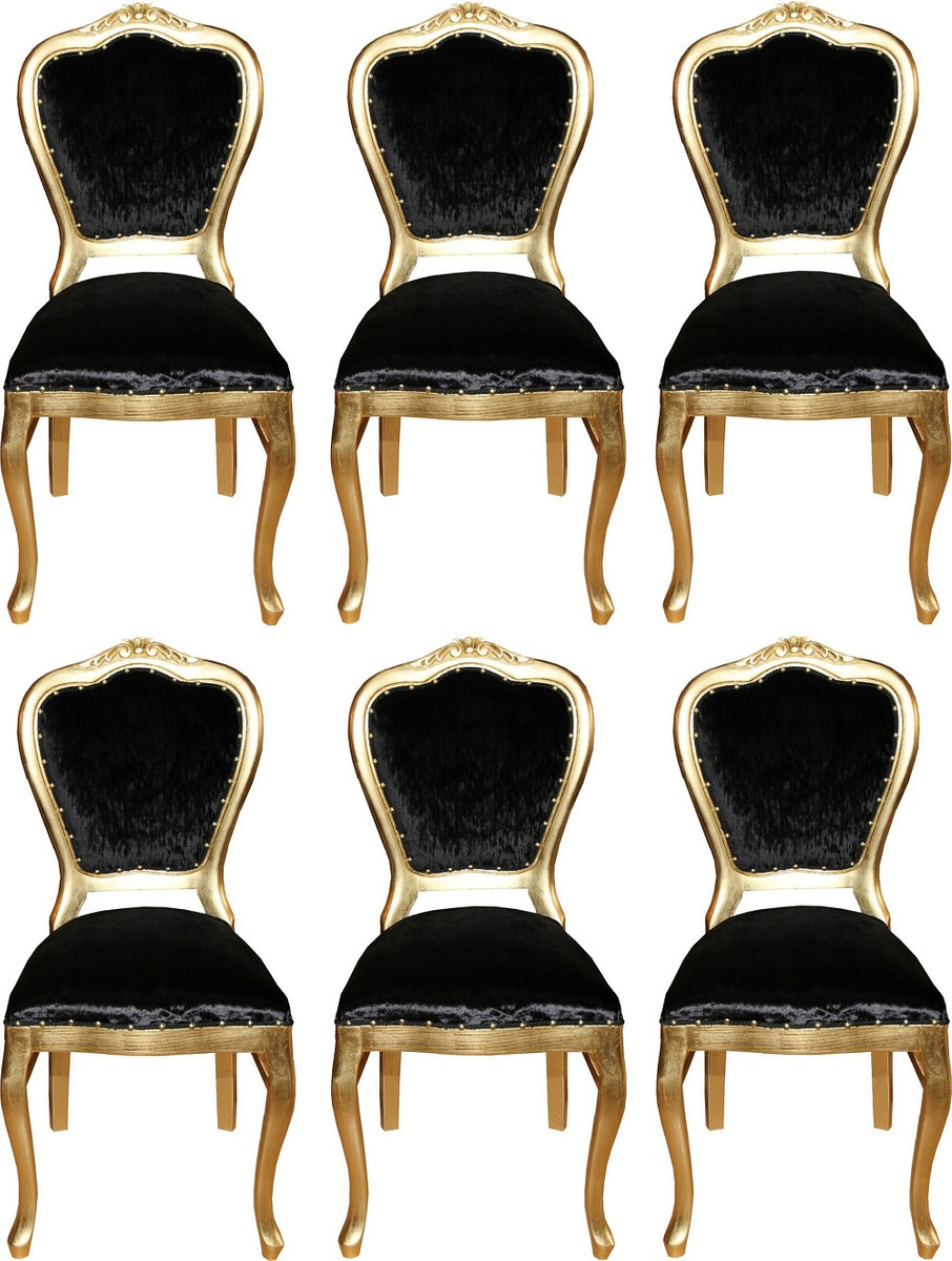 Casa Padrino Luxury Baroque Dining Set Black Gold 45 X 46 X H 99 Cm 6 Handmade Dining Chairs Baroque Dining Room Furniture
