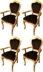 Casa Padrino Luxury Baroque Dining Set Black / Gold 60 x 47 x H. 99 cm - 4 Handmade Dining Chairs with Armrests - Baroque Dining Room Furniture