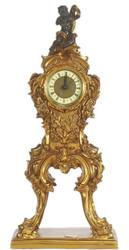 Casa Padrino Barock Standuhr Gold / Schwarz 22 x 13 x H. 48 cm - Kleine prunkvolle Massivholz Standuhr mit Engel