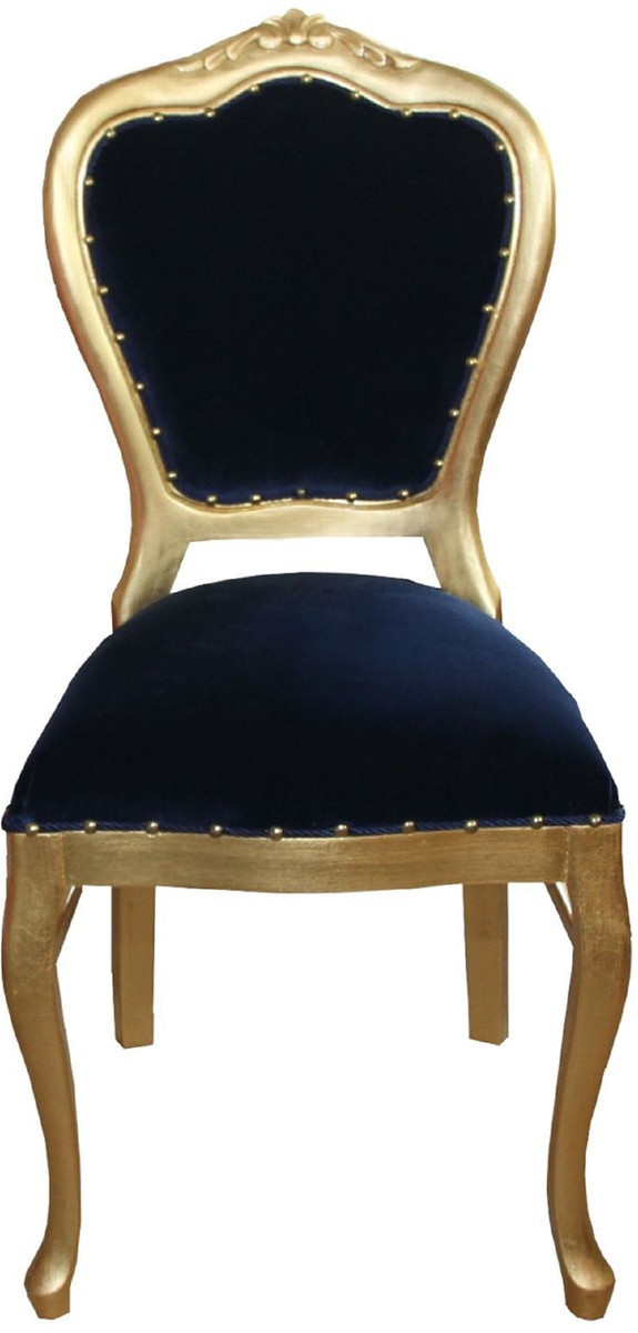 Casa Padrino Luxury Baroque Dining Set Royal Blue / Gold 45 x 46 x H  99 cm  - 4 Handmade Dining Chairs - Baroque Dining Room Furniture