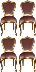 Casa Padrino Luxury Baroque Dining Set Pink / Gold 45 x 46 x H. 99 cm - 4 Handmade Dining Chairs - Baroque Dining Room Furniture