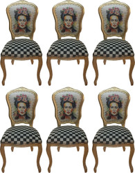 Casa Padrino Luxury Baroque Dining Room Set Madmoisell Multicolor / Gold 55 x 54 x H. 103 cm - 6 Handmade Dining Chairs with Bling Bling Rhinestones - Baroque Dining Room Furniture