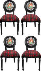 Casa Padrino Luxury Baroque Dining Room Set Scotland Woman Multicolor / Black 48 x 50 x H. 98 cm - 4 Handmade Dining Chairs with Bling Bling Rhinestones - Baroque Dining Room Furniture