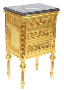 Kleine Side Table.Casa Padrino Baroque Side Table With 3 Drawers And Marble Top Gold Black 45 X 55 X H 75 Cm Baroque Furniture
