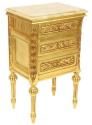 Casa Padrino baroque side table with 3 drawers and marble top gold / cream 45 x 55 x H. 75 cm - Baroque Furniture