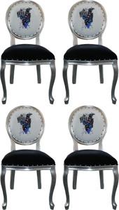 Pompöös by Casa Padrino Luxury Baroque Dining Chairs Black / White / Silver 50 x 60 x H. 104 cm - Pompöös Baroque Chairs designed by Harald Glööckler - 4 Dining Chairs