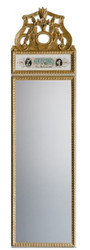 Casa Padrino Wall Mirror White / Multicolor / Antique Gold 44.5 x H. 164 cm - Magnificent Mirror in Neoclassical Style
