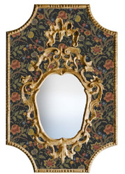 Casa Padrino Baroque Mirror Multicolor / Black / Antique Gold 65 x H. 99 cm - Baroque Wall Mirror with Flowers Design