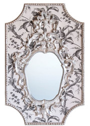 Casa Padrino Baroque Mirror Gray / White / Antique White 65 x H. 99 cm - Baroque Wall Mirror with Plants Design