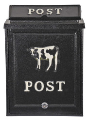 Casa Padrino wall mailbox made of aluminum black, decorated with cow motif letterbox mailbox
